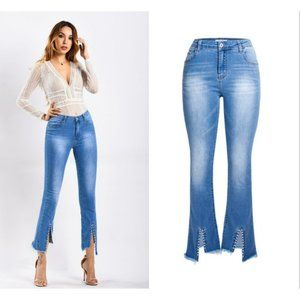 Women's Spring Summer High Waisted Slim Perforated
